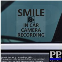 1 x In Car Camera Recording Window Sticker-BLACK-Smile CCTV Sign-Car,Truck,Taxi,Cab